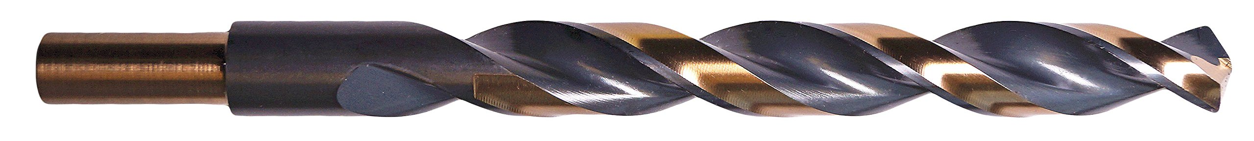 Precision Twist 344RS29/64 Drill, 3/8'' Reduced Shank High Speed Steel Drill, 0.45'' Cutting Dia., 135 Degree Cutting Angle, Right Cutting, 5.5/8'' L, Split Point Black and Bronze Coating