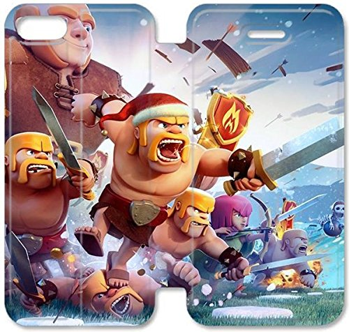 Coque iPhone 6 6s 4,7 pouces Coque Cuir, Klreng Walatina® 6 6s PU Cuir de portefeuille Coque Design By Clash of Clans B1E2Fl