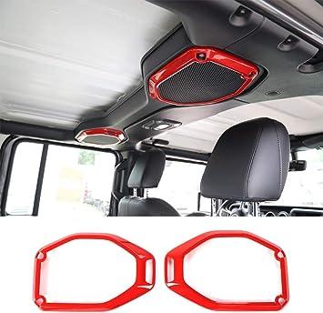 LAIKOU Top Roof Speaker Audio Surround Cover Trim Decor Ring Interior Accessories for 2018-2021 Jeep Wrangler JL JLU /& Gladiator JT Red