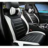 Moonet Front Rear Car Trunk Bucket Seat Cushion Covers PU Leather 8pcs Full Set Black White