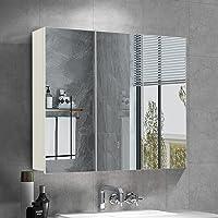 OFCASA Armario de 3 puertas con espejo de baño con estante ajustable de pared para…
