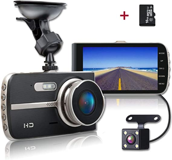 Shishuo Cámara en Tablero Delantero y Trasero 4 Pulgadas Pantalla Grande 1080P pantalla IPS HD..