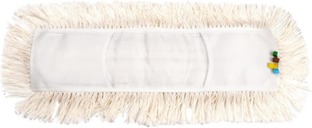 "YCUTE Commercial Strength Cotton Dust Mop Refill, Thick Tufted Replacement Head for Home & Commercial Use, Fits Standard Size Mop Frame, Perfect for Hardwood, Laminate, Concrete (35"")"
