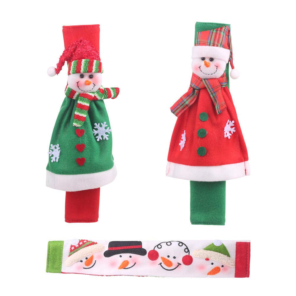 humeng Christmas Decorations Christmas Items Creative Microwave Oven Gloves Cartoon Snowman Refrigerator Gloves Oven Protective Cover@Flannel Snowman Gloves Set of 3