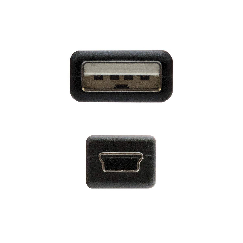 uso principal para m/óviles y c/ámaras digitales negro macho-macho tipo A//M-Mini B//M 0.5mts NanoCable 10.01.0400 Espa/ña Cable USB 2.0 a mini USB