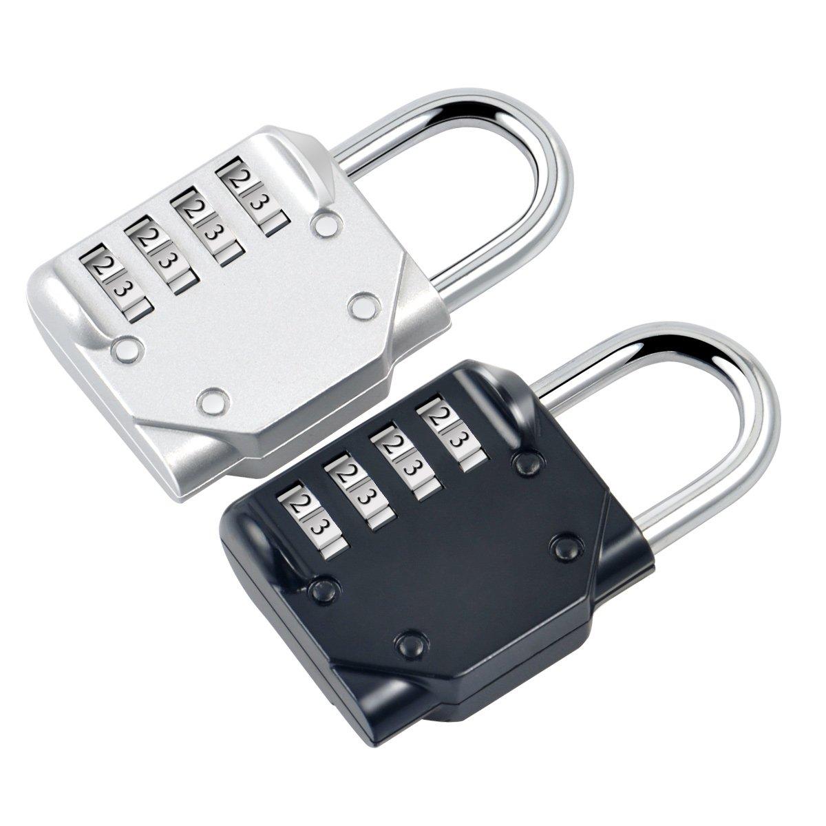 Blingco Cerradura de la Combinación, Sistema del Candado de 4 Dígitos, Candado de la Seguridad para las Puertas de la Escuela, Puerta del Gym, Recorrido al ...