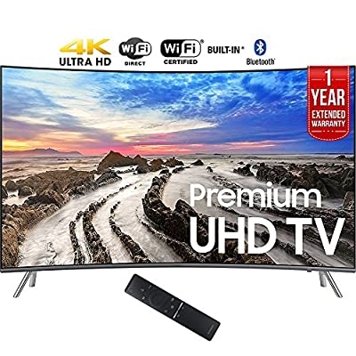 "Samsung UN55MU8500FXZA 54.6"" Curved 4K Ultra HD Smart LED TV (2017 Model) + 1 Year Extended Warranty (Certified Refurbished)"