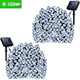 Solar String Lights 72ft 200 LED Fairy Lights - Ambiance lights for Outdoor - Patio - Lawn - Garden - Home - Wedding - Holiday - Christmas - Xmas Tree decoration - waterproof Timer USB Charge (Cool White 2 Pack)