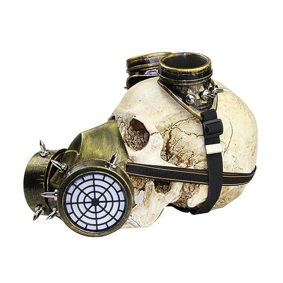 Kehuashina Gafas Femenina / Masculina Bruma Militar Niebla Steampunk Gas Máscara Fiesta Halloween Anime Cosplay Accesorios Color Plata: Amazon.es: Juguetes ...