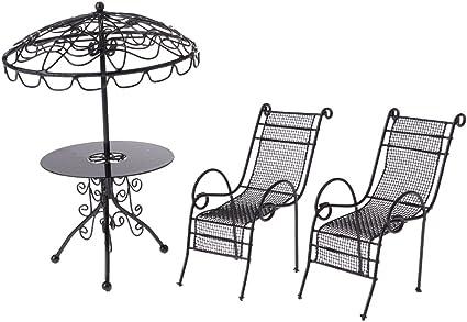 112 Puppenhaus Gartenmöbel Miniatur Metall Tisch Stühle