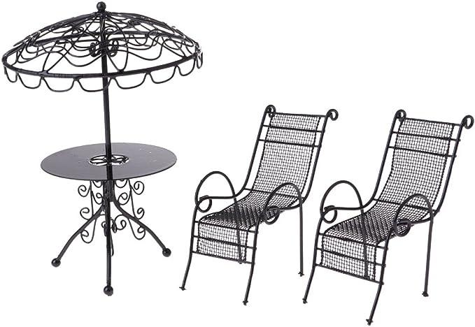Puppenhaus Schwarz Ladderback Beistellstuhl Miniatur Küche Esszimmer Möbel
