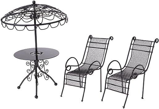 Puppenhaus Schwarz Draht Schmiedeeisen Garten Seite Tisch Miniatur Patio Möbel