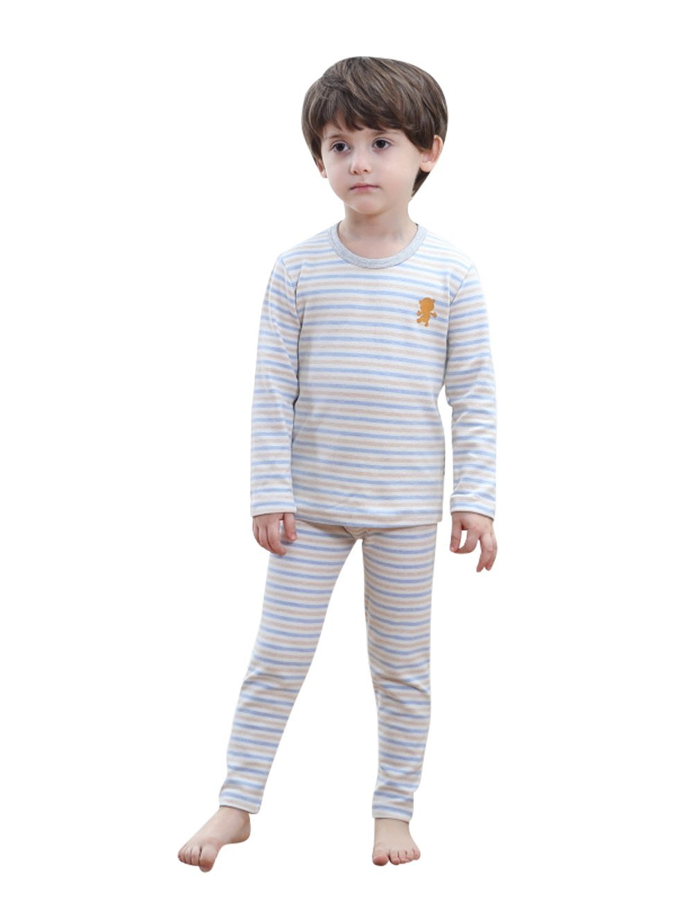 MOKAYA Children's Soft Thermal Underwear Set Long Top Bottom (100CM,Blue)