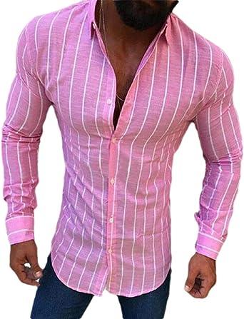 Camisa de Manga Larga para Hombre, Ajustada, con Botones Rosa Rosa L: Amazon.es: Ropa y accesorios