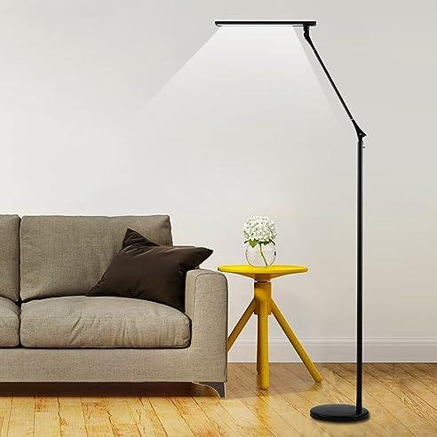 Tonffi Faltbare LED Stehleuchte Aluminiumlegierung Standlampe Mit 8W 420LM 5000K Weiss Touch Dimmbare Schalter Funf