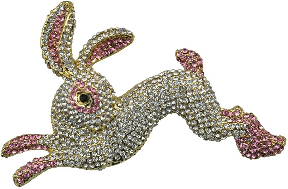 TTjewelry Pretty Pink Rabbit Animal Gold-Tone Brooch Pin Austria Crystal
