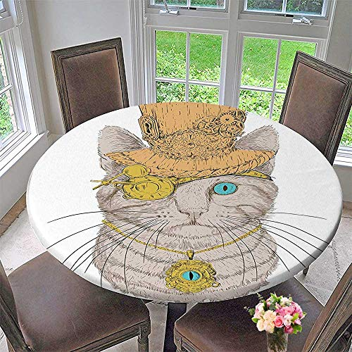 Mikihome Round Table Tablecloth Punk Pirate Cat with Eye Collar Kitty Design Orange Brown for Wedding Restaurant Party 35.5