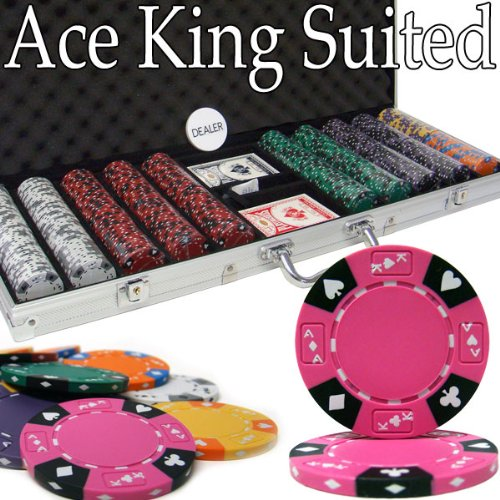 (500 Count Ace King Suited Poker Set - 14 Gram Clay Composite Chips with Aluminum Case, Playing Cards, & Dealer Button for Texas Hold'em, Blackjack, & Casino Games by Brybelly)