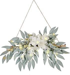 EESLL Artificial Hydrangea Swag,Handmade Floral Swag Garland Wall Decor with White Hydrangea Flowers and Willow Leaves Decorative Log Branch Hanging Hoop for Wall Window Bohemian,11.8