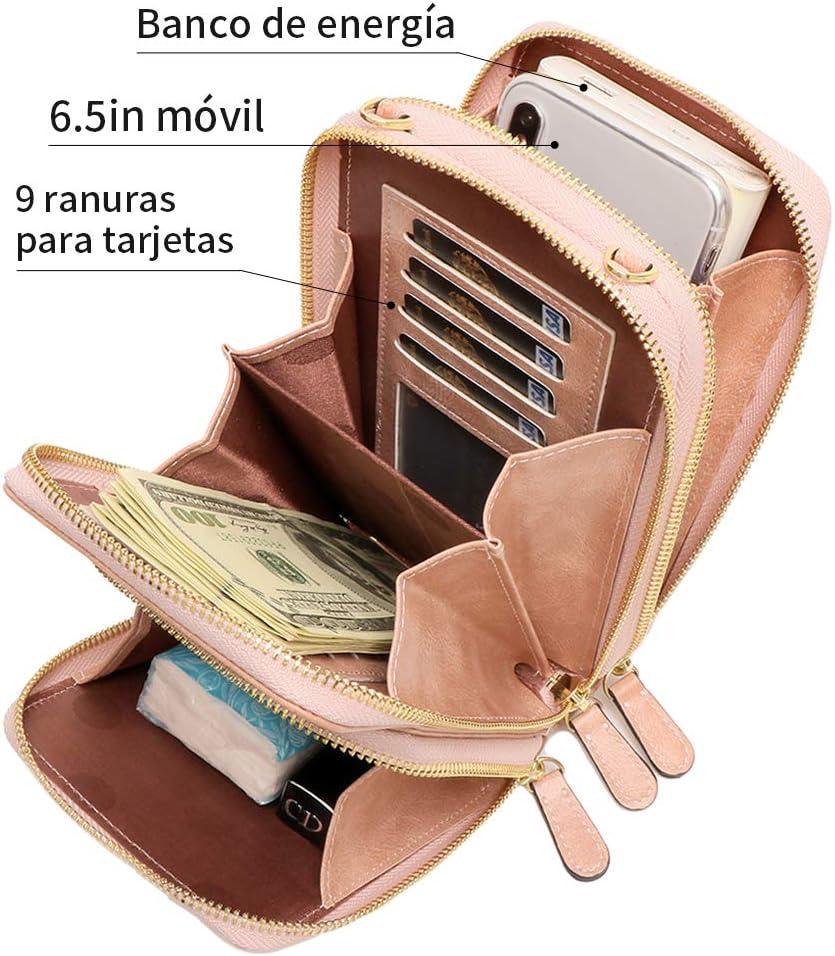 Actualizada mujer tel/éfono m/óvil bolso RFID peque/ño bolso monedero monedero colgado cuero PU bolso bandolera Pearl Angeli