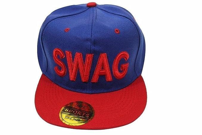 88537981ab4 Devil Men s Cotton Swag Hip Hop Snapback Cap (Blue and Red