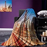 smallbeefly Urban Digital Printing Blanket Modern Subway Line in Dubai Tracks Skyscrapers Futuristic View Commercial Summer Quilt Comforter Pale Brown Blue White