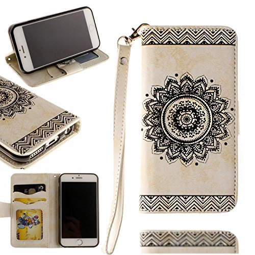 Black Sales Friday Cyber Sales Monday-Valentoria for iPhone 6Plus Wallet Case,Valentoria Mandragora Flower Premium Vintage Emboss Leather Wallet Pouch Case with Wrist Strap for iPhone 6Plus (White)
