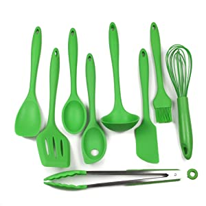 Chef Craft 9 Piece Silicone Kitchen Tool and Utensil Set,Green