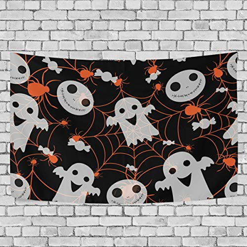 My Little Nest Wall Hanging Tapestry Halloween Spider Ghost Living Room Bedroom Home Decor Wall Blanket 60x90 Inches -
