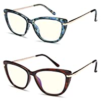 2 Pack Cat Eye Blue Light Blocking Reading Glasses for Women, Fashion Lightweight Women Reading Glasses with Spring Hinge