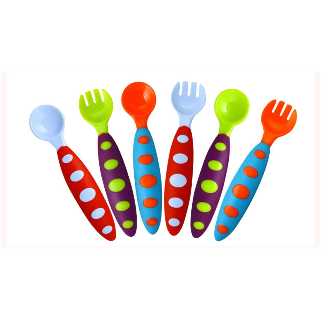 QXT toddler utensils baby fork and spoon set - bonus travel case - travel safe toddler training spoons (6-Piece Set)