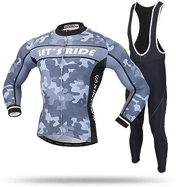 Cycling Skin Suit New Winter Long Sleeve Strap Set Men's Camouflage Jersey Jersey Fleece Strap Moisture Wicking Set