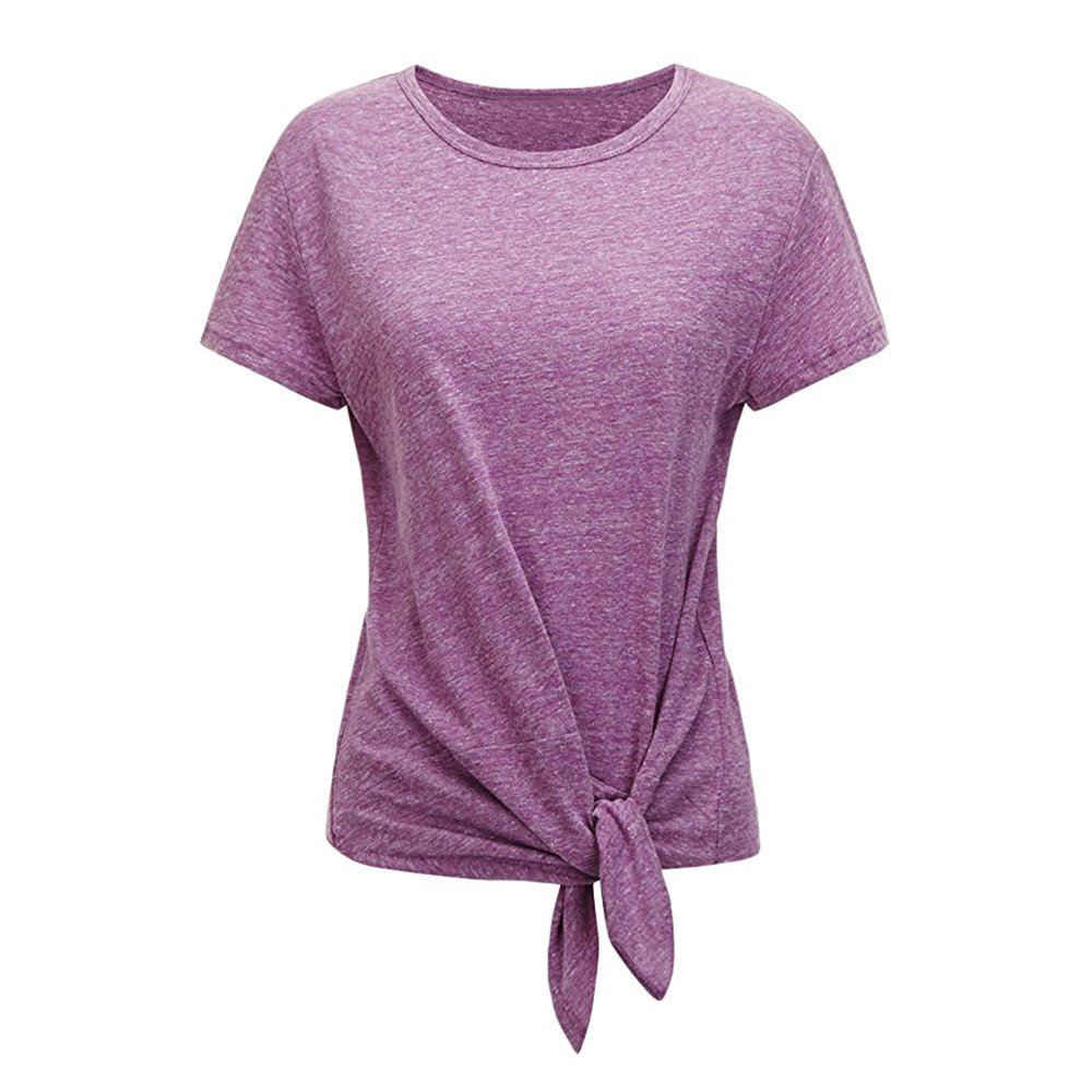 iLOOSKR Women's Short Sleeve Shirt Solid Color Lace Front Knot Loose Summer Simple Tee T-Shirt(Purple,M)