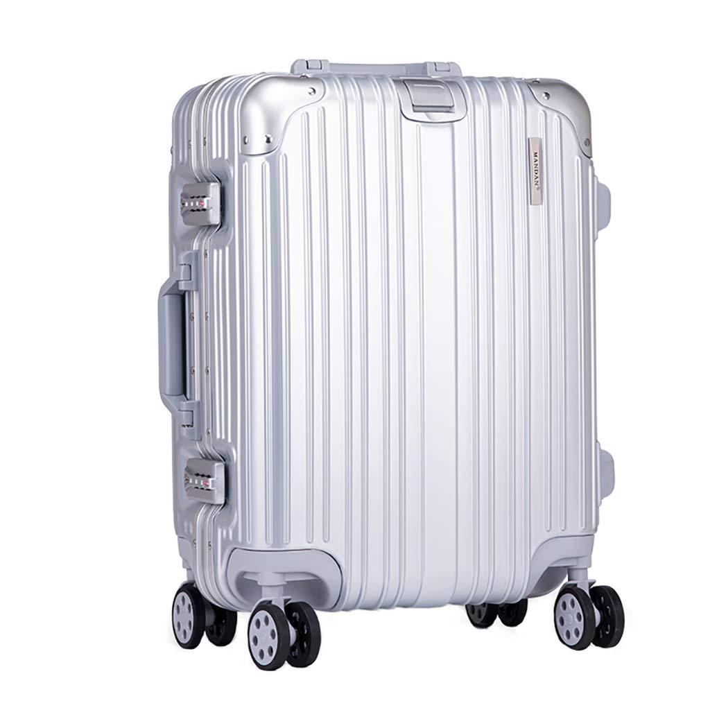 軽量荷物、ポリカーボネート製ハードシェルハンドスーツケース、TSAロック付き、4スピナーホイールトラベルバッグ、59cm(ブラック、シルバー) B07PM2N2PX Silver 42x29x59cm
