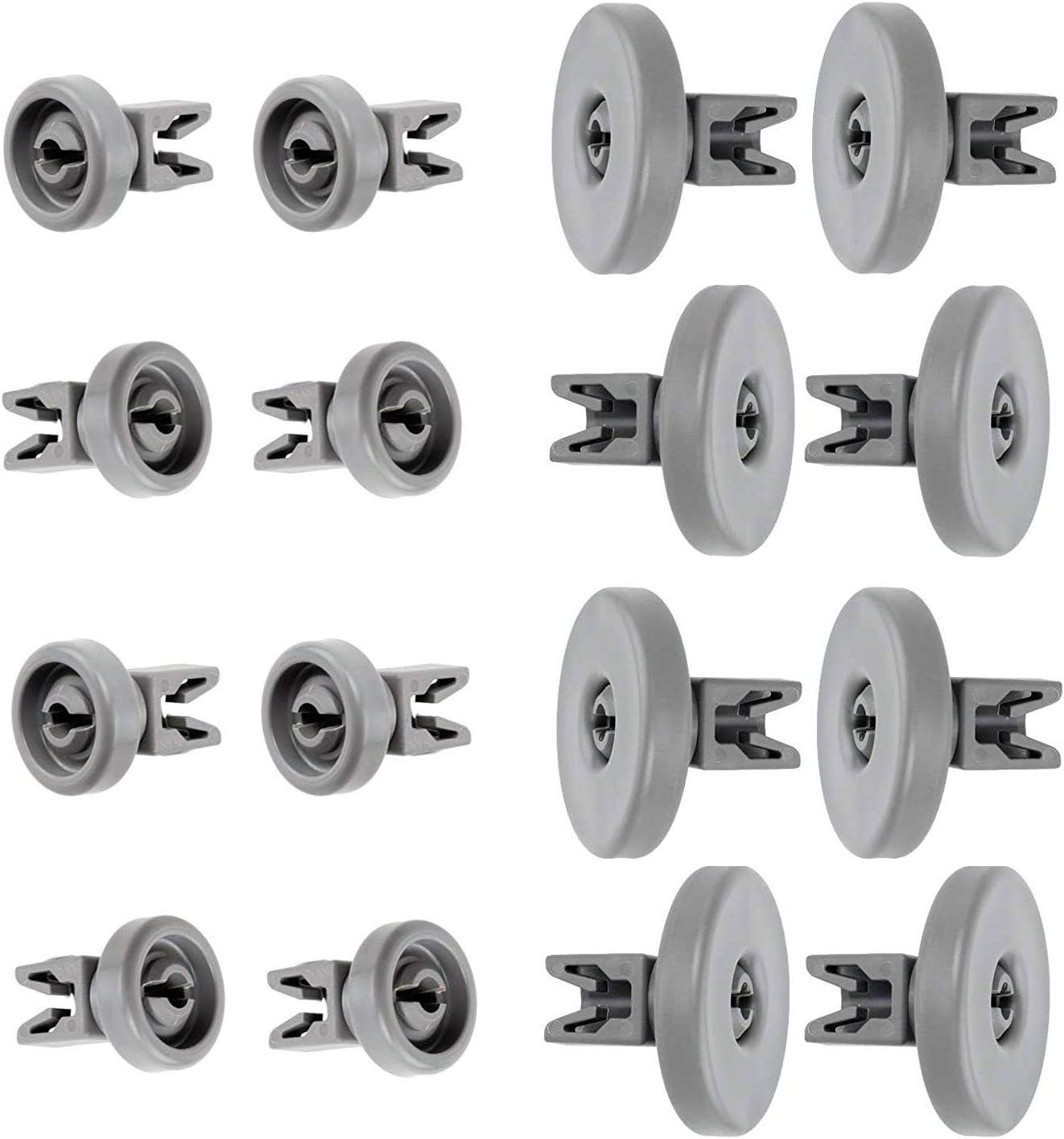 Set Lummar ruote lavastoviglie Rex Electrolux Techna Zanussi Aeg Favorit Juno Privileg Fortschritt Quelle, 16 ruote cestello inferiore superiore