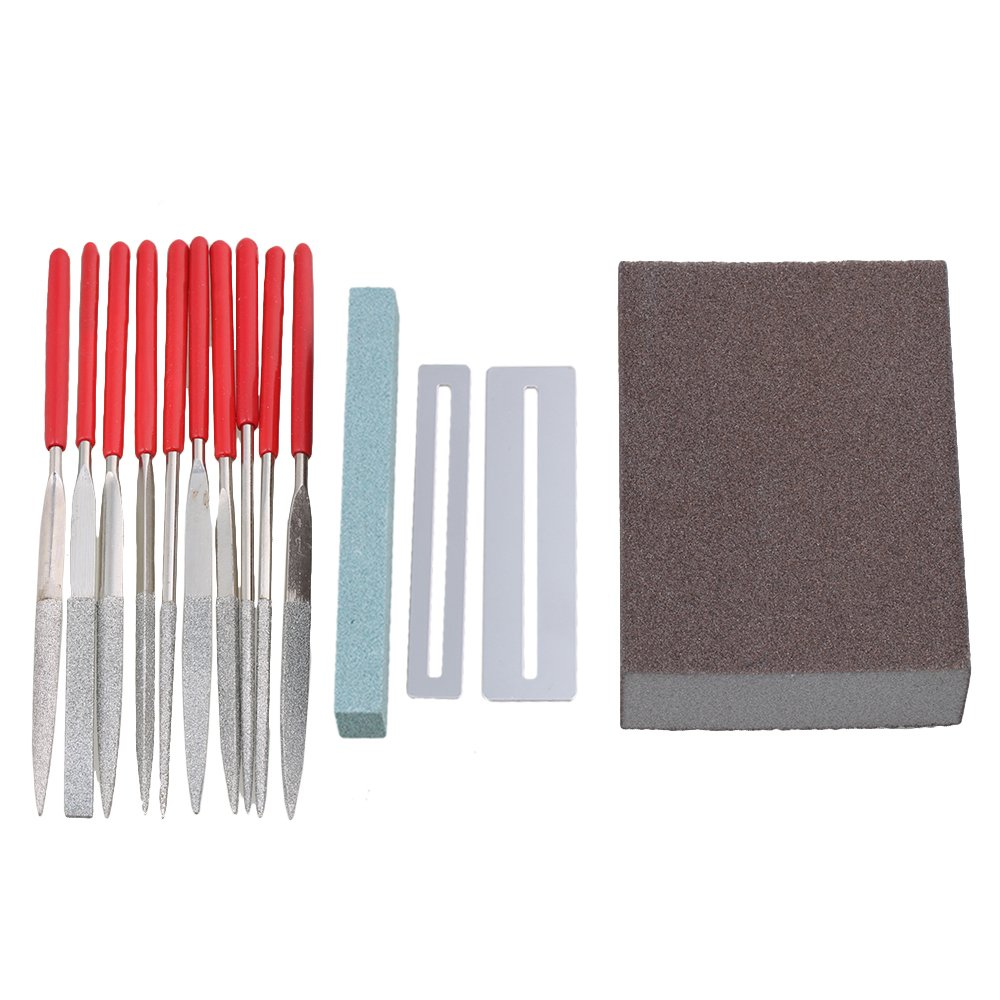 Yibuy Guitar Stainless Steel Files Repair Maintenance Tools Frets Nut Grinding Stone Grinding Sponge etfshop M7170918074