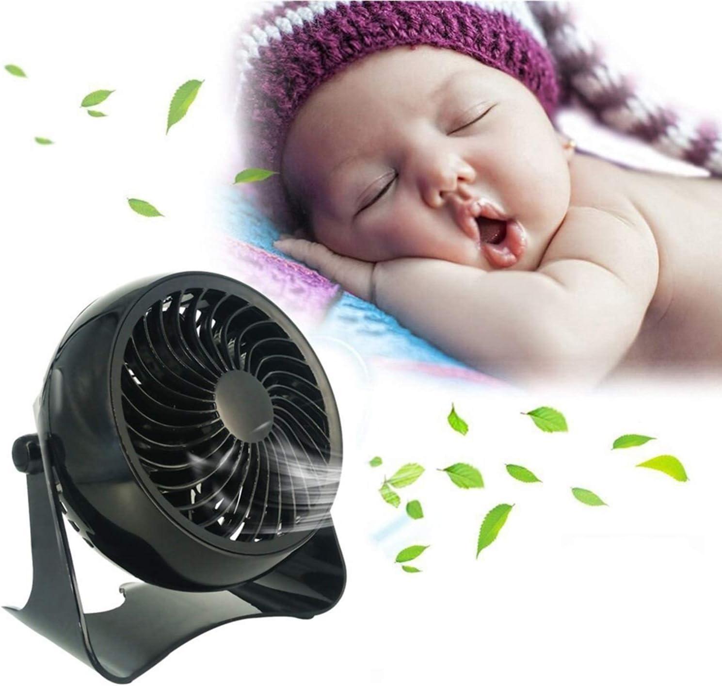 Color : Pure Black Fan Mini Desktop Fan Super Mute One Gear USB Charging Bedside Outdoor Office Table Fan Mini Portable Cooling Fan