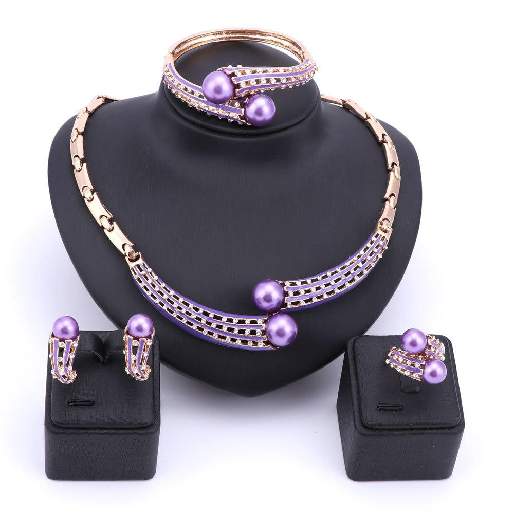 Fashion Simulated Pearl Necklace Earrings Bangle Ring Crystal Wedding Bridal Jewelry Sets (Purple)