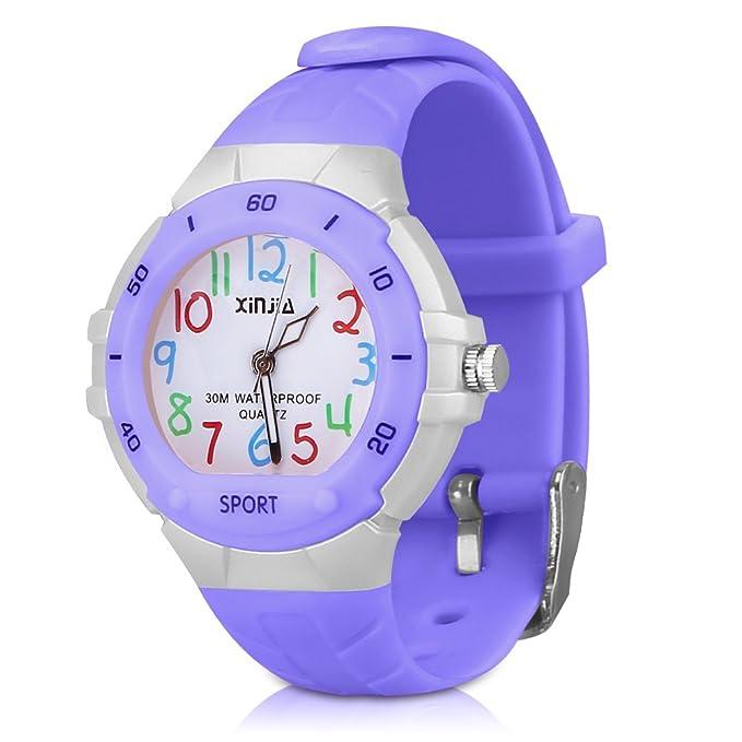 116 Kids Watch 30M Waterproof,Children Cartoon Wristwatch Child Silicone Wrist Watches Gift for Boys Girls Little Child – PerSuper (Purple)