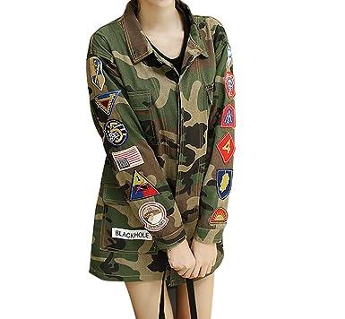 Womens Mens Pockets Camo Military Green Jackets Coats US Badge Army  Embroidery 115538c67