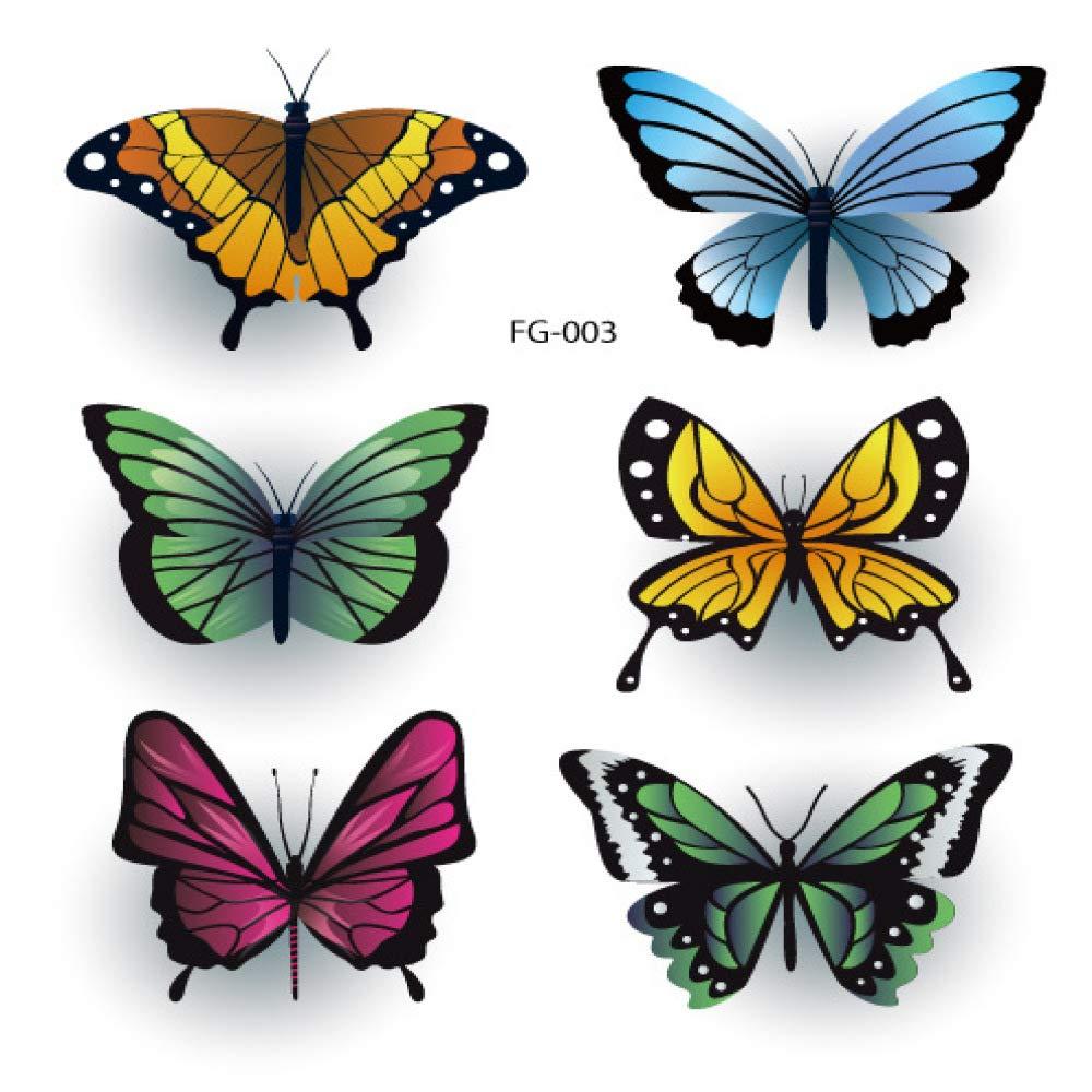 Impermeable pequeño fresco tatuaje pegatinas mariposa gradiente ...