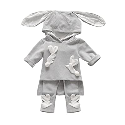 2pcs Baby Boys Girls Winter Long Sleeve Bunny Ear Hoodie Tops+Pants Outfits Set