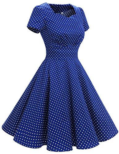 White Small Audrey Corte 1950 Vestito Vintage Royalblue Dot Cocktail Hepbun Maniche Dresstells Donne F1nq4wnS