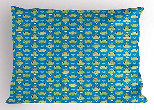 Ustcyla Frogs Pillow Sham, Cute Green Faces Sleeping and Giving Kisses Crowned on Blue Polka Dots with Hearts, Decorative Standard Queen Size Printed Pillowcase, 30 X 20 Inches, Multicolor