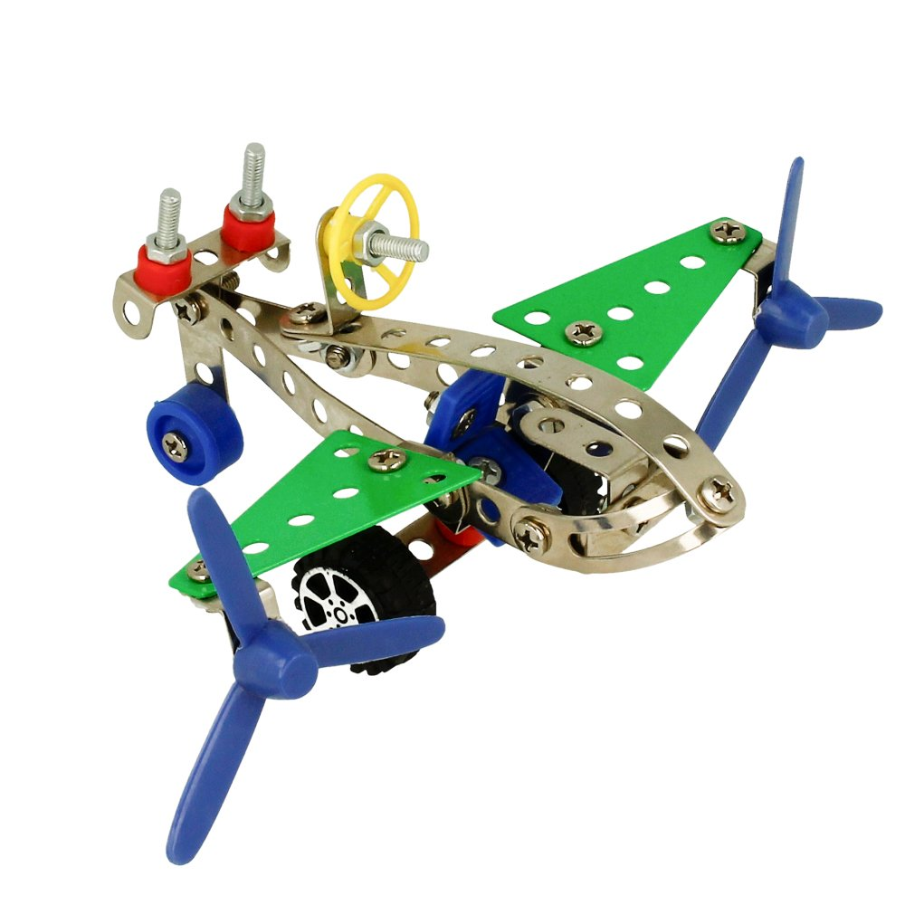 Juego de Construcción de Metal Avión Incluye Piezas y Herramientas