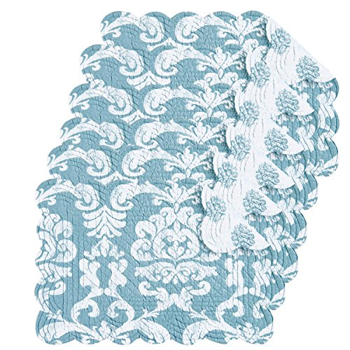 Providence Blue 13x19 Quilted Rectangular Placemat Set of -