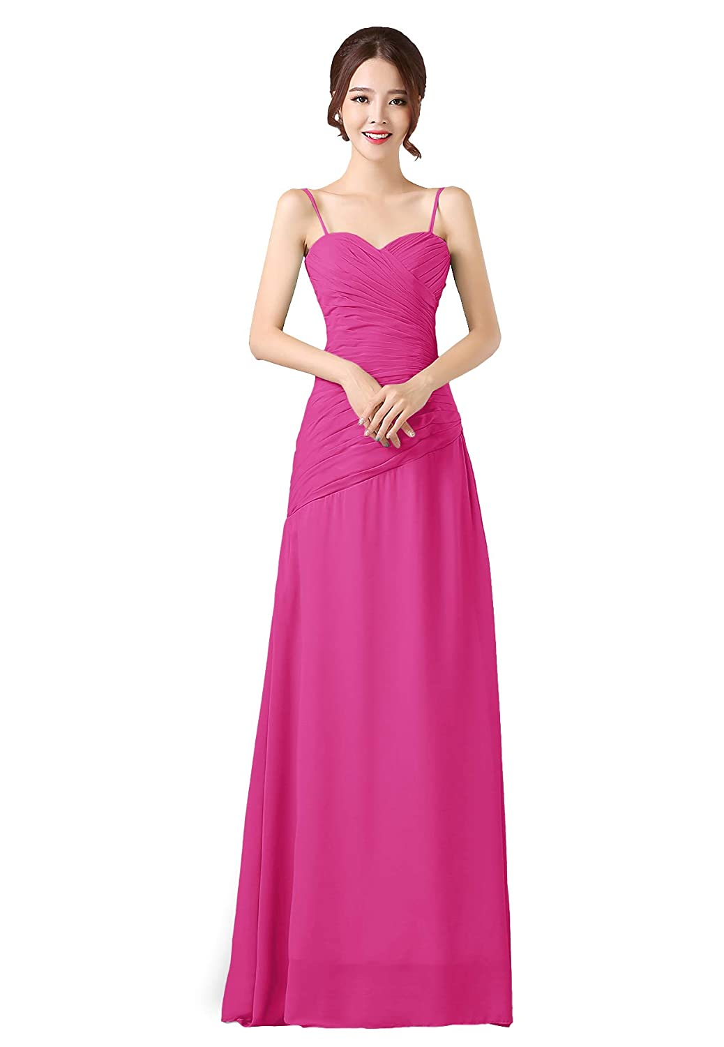 Hot Pink ANGELWARDROBE Spaghetti Straps Bridesmaid Dresses Long Oblique Ruffles Party Prom Gowns