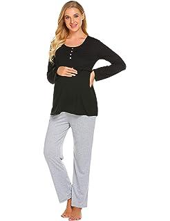 Ekouaer Nursing Nightgown Hospital Delivery/Labor/Maternity/Pregnancy Long Sleeve Soft Breastfeeding Pajamas