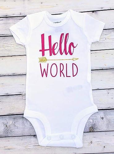44f81a1e7 Hello World Bodysuit Baby Bodysuit - Newborn Bodysuit - Hello World - Coming  Home Outfit - baby girl bodysuit - babyshower gift - princess has arrived  ...