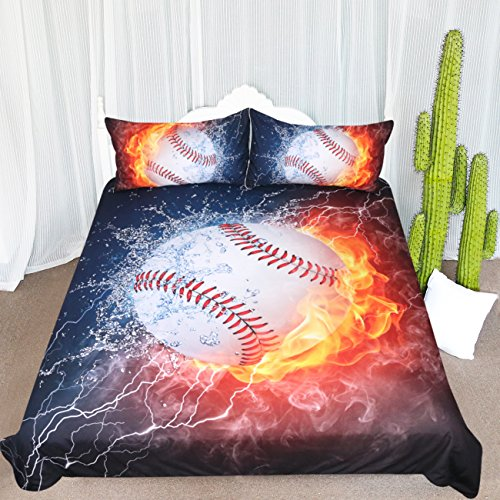 ARIGHTEX Ice and Fire Baseball Duvet Cover Sports Theme Bedding Cool Flames Teen Duvet Cover Ball Bedding Set (Pattern 2, Twin)